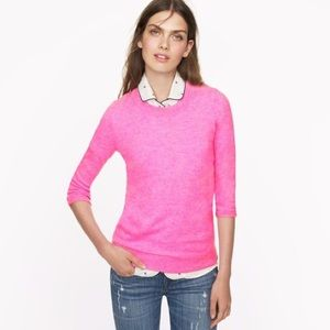 J Crew Tippi Sweater In Hot Pink Merino Wool XL